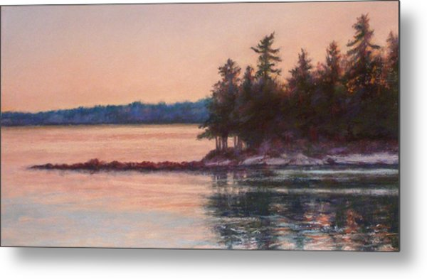 Sunset Over Emerald Point Lake Sebago Maine    Metal Print