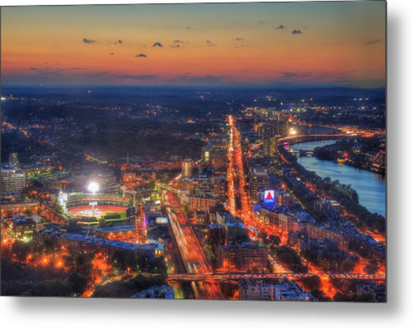 Sunset Over Fenway Park And The Citgo Sign Metal Print
