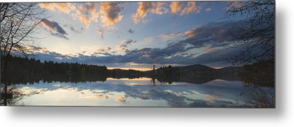 Sunset Over Flying Pond In Vienna Maine Metal Print