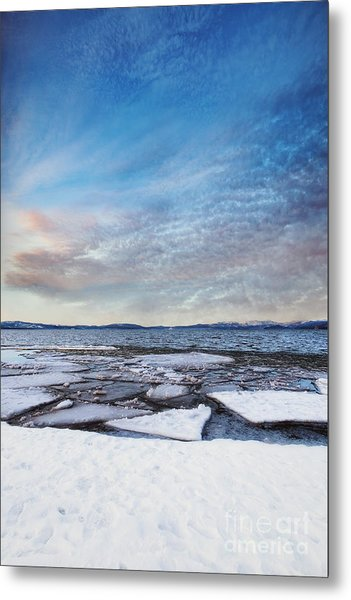 Sunset Over Frozen Lake Metal Print
