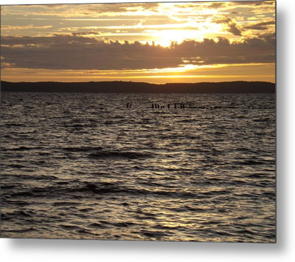 Sunset Over Lake Cazaux Metal Print by Tony Serzin