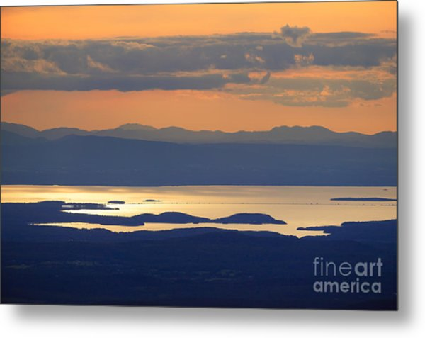 Sunset Over Lake Champlain Metal Print