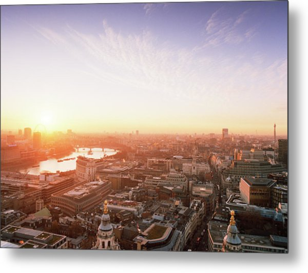 Sunset Over London City Metal Print by Shomos Uddin
