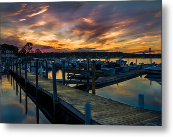 Sunset Over Marina On Mystic River Metal Print