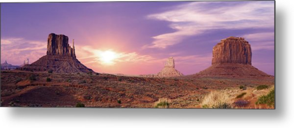Sunset Over Mountain Valley Metal Print