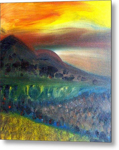 Sunset Over Mountains  Metal Print by Michaela Kraemer