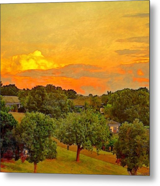 Sunset Over Orchard - Square Metal Print