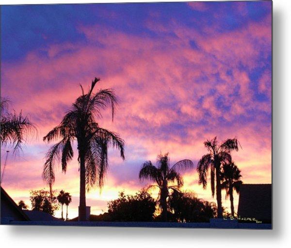 Sunset Over Palms Metal Print