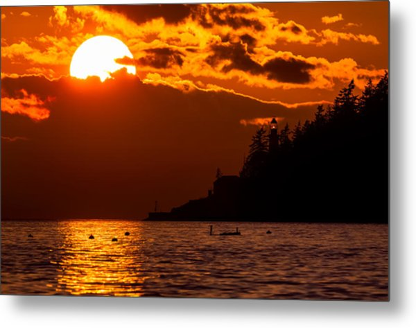 Sunset Over Point Atkinson Lighthouse Metal Print