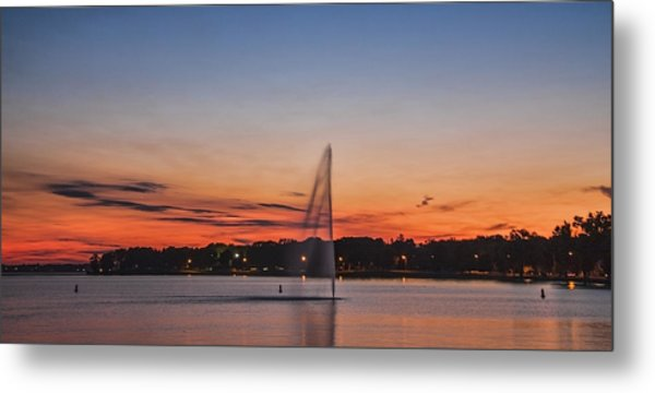 Sunset Over Storm Lake Metal Print by T C Hoffman