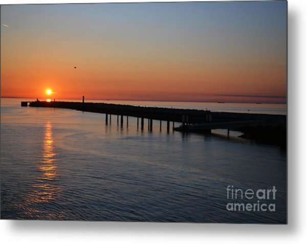 Sunset Over The English Channel Metal Print