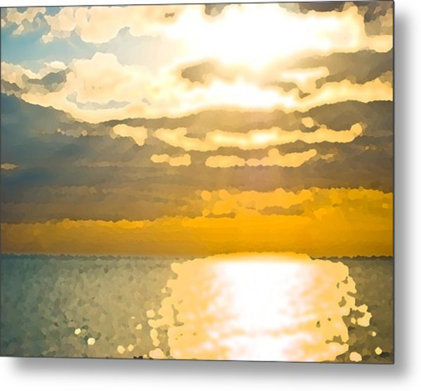 Sunset Over The Gulf Sun 92 Metal Print