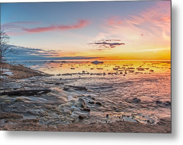 Sunset Over The Mouth Of The Hurricane River Metal Print