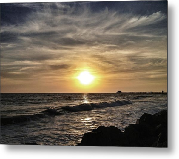 Sunset Over The Pier Metal Print
