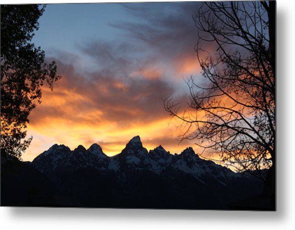 Sunset Over The Tetons Metal Print