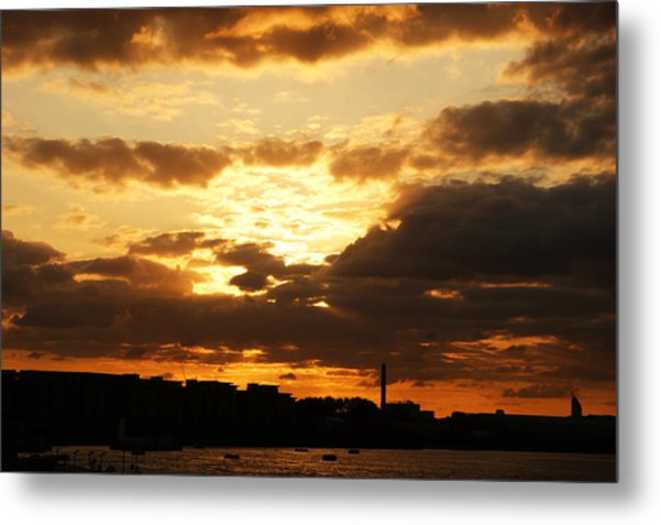 Sunset Over The Thames From Greenwich Metal Print