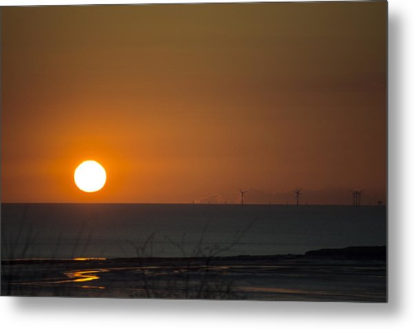 Sunset Over The Windfarm Metal Print