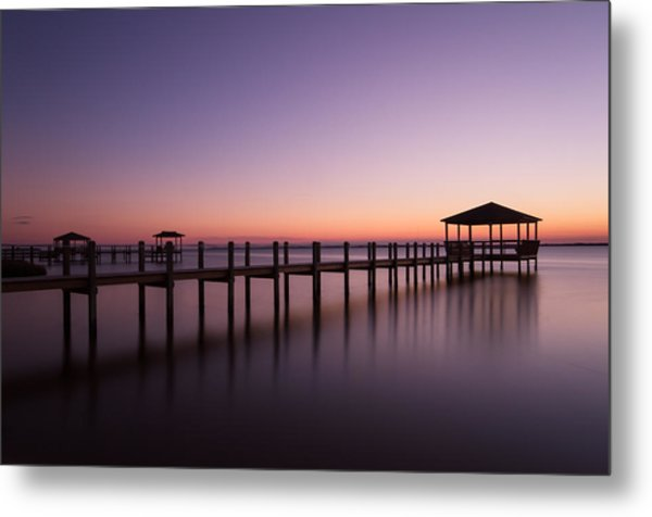 Sunset Over Town Of Duck Metal Print