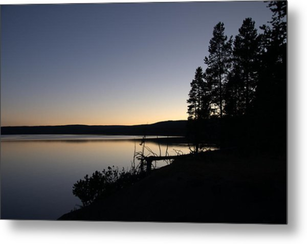Sunset Over Yellowstone Lake Metal Print