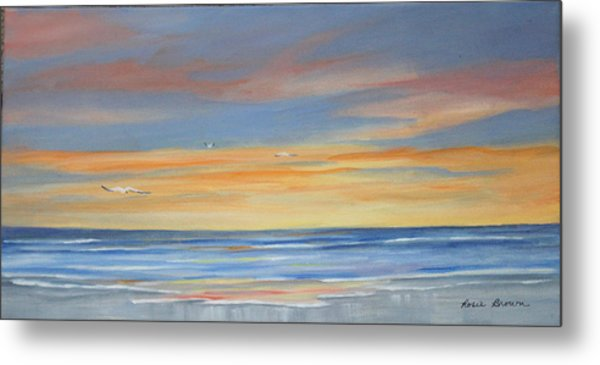 Sunset Reflections - Beach Sand Waves Metal Print by Rosie Brown