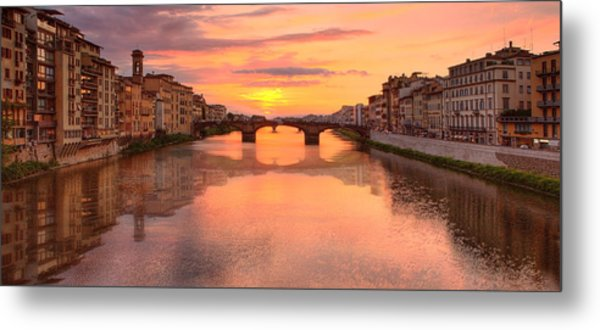 Sunset Reflections In Florence Italy Metal Print