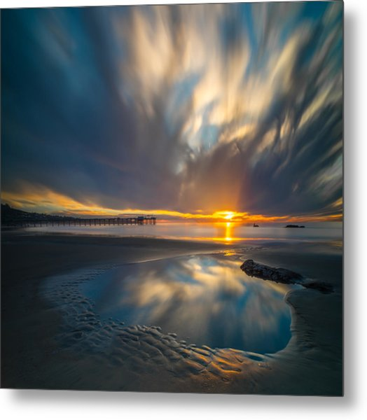 Sunset Reflections In San Diego Square Version Metal Print by Larry Marshall