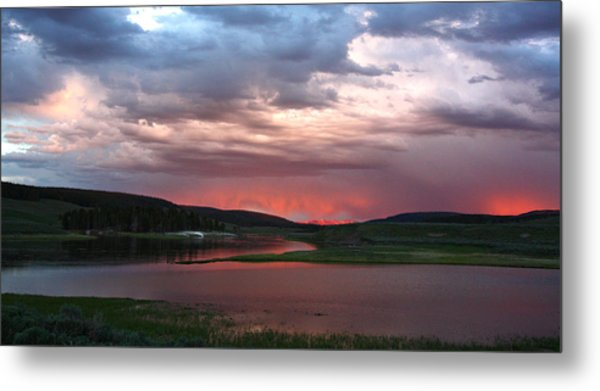 Sunset Reflections Over Yellowstone River In Hayden Valley Metal Print