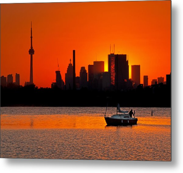 Sunset Sail Ashbridges Bay Toronto Canada Metal Print