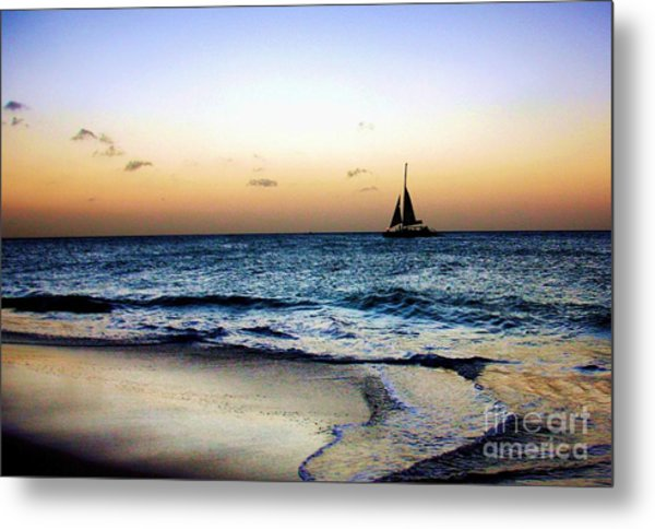 Sunset Sailing In Aruba Metal Print
