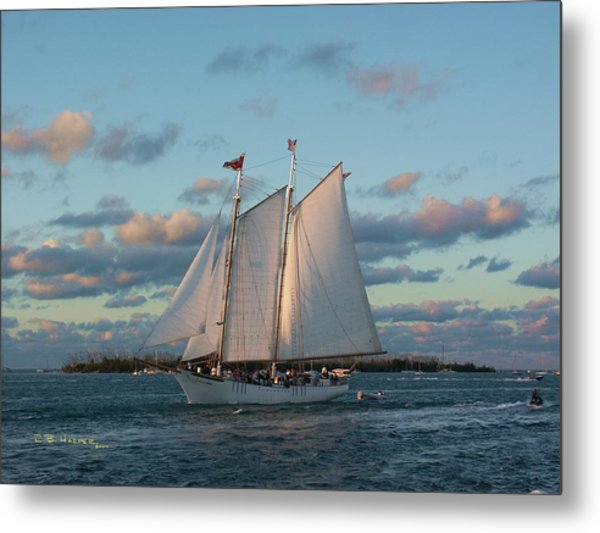 Sunset Schooner Metal Print