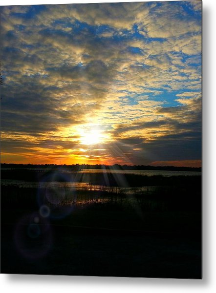 Sunset Sets Off Cloud Explosion Metal Print