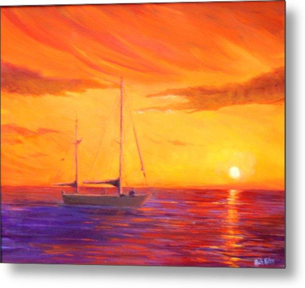 Sunset Ship Metal Print by Rich Kuhn