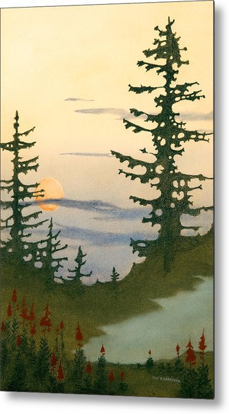 Sunset Spruces Metal Print by Bruce Richardson