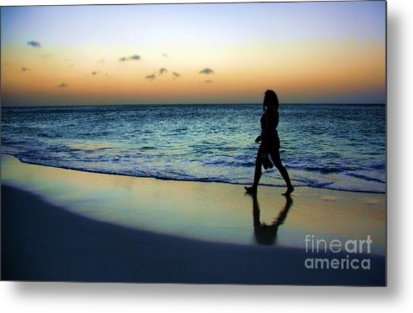 Sunset Stroll In Aruba Metal Print