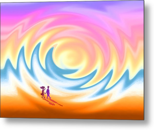 Sunset Stroll On A Windy Beach Metal Print