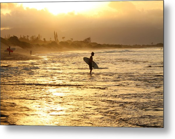 Sunset Surf Session Metal Print
