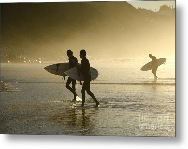 Sunset Surfers Biarritz Metal Print