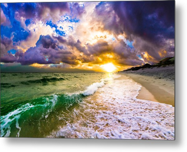 Sunset Through Breaking Wave-landscape-sea And Dark Cloud Metal Print