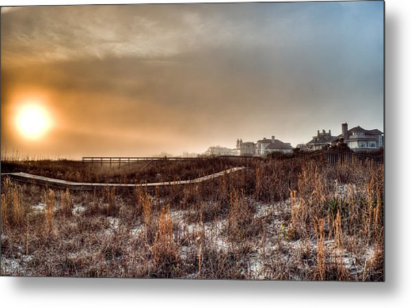 Sunset Through The Fog Metal Print