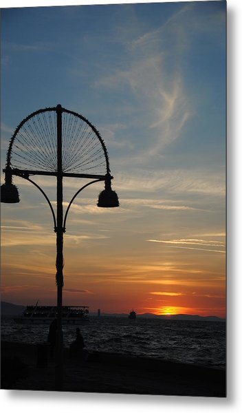 Sunset View From Kordon - Izmir Metal Print by Jacqueline M Lewis