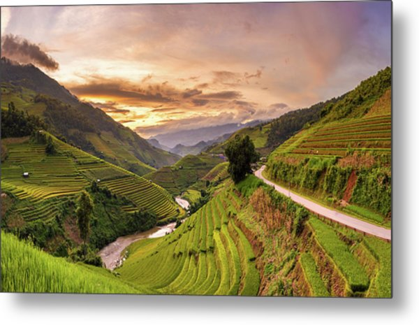 Sunset View Point Of Rice Terrace Metal Print by Suttipong Sutiratanachai