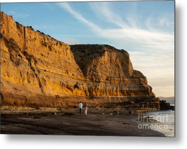 Sunset Walk At Flat Rock  La Jolla California Metal Print