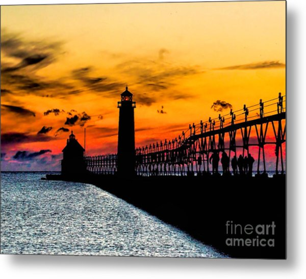 Sunset Walking On Grand Haven Pier Metal Print