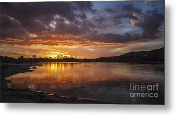 Sunset With Clouds Over Malibu Beach Lagoon Estuary Metal Print