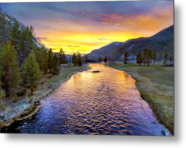 Sunset Yellowstone National Park Madison River Metal Print
