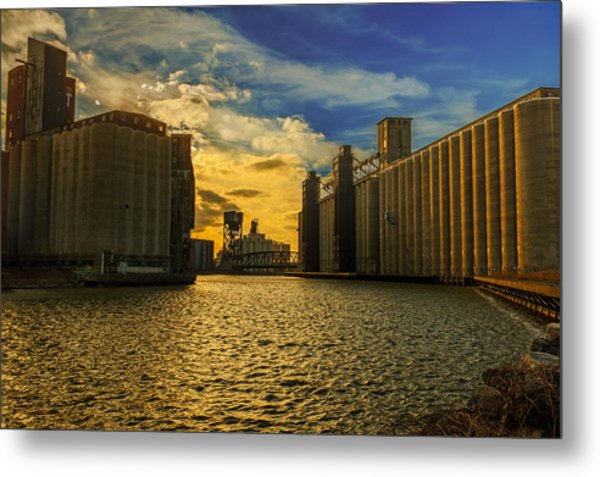 Sunsets On A River Through An Industrial Canyon Metal Print