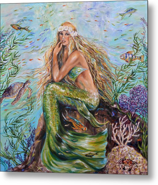 Sunshine Mermaid Square Metal Print