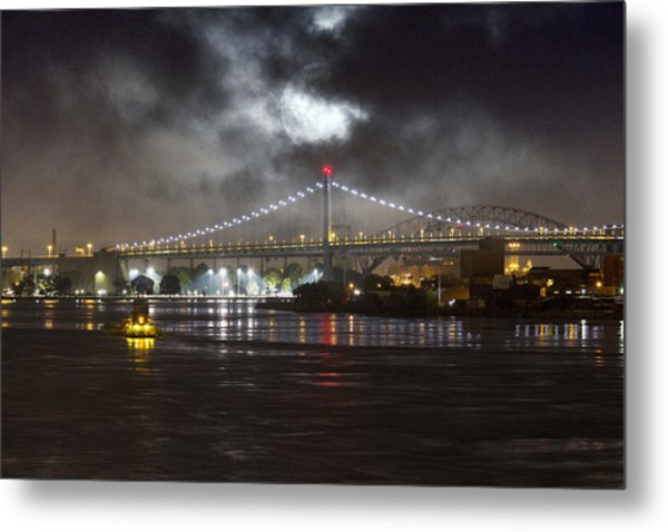 Super Moon And Triboro Bridge Metal Print
