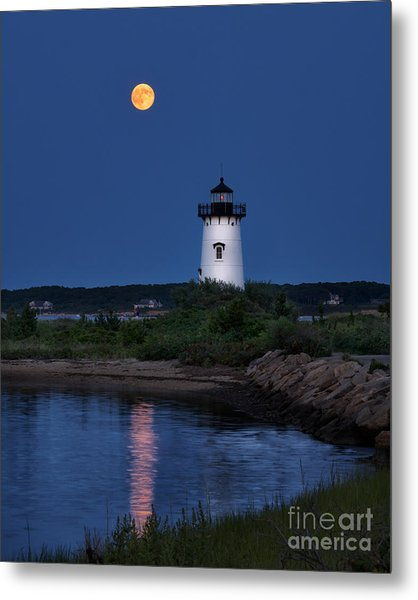 Super Moon Over Edgartown Lighthouse Metal Print