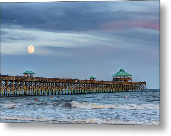 Super Moon Over Folly Metal Print